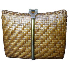 Rodo Italy Chic Woven Wicker Rattan Clutch Bag c 1980