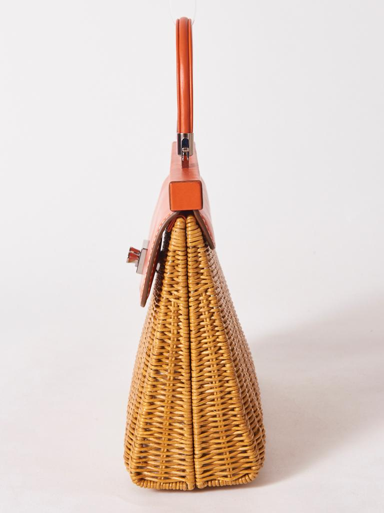 Orange Rodo Rattan and Leather Handbag For Sale