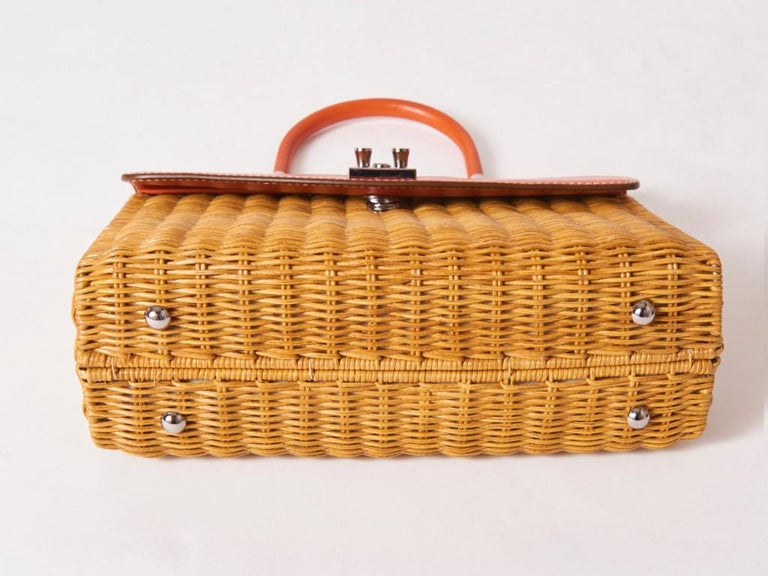 Women's Rodo Rattan and Leather Handbag For Sale