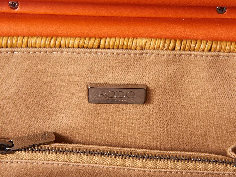 Rodo Rattan and Leather Handbag For Sale 1