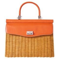 Rodo Rattan and Leather Handbag