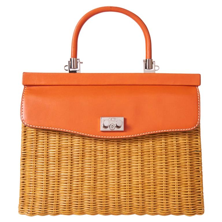 Rodo Rattan and Leather Handbag For Sale