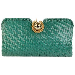 Rodo Vintage Green Woven Straw Rattan Clutch Bag Handbag