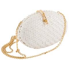 Rodo White Woven Wicker Clutch Bag