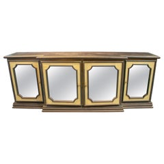 Rodolfo Dubarry 1970s 4-Door Gilt Bronze Mirror Paneled Designer Console Table