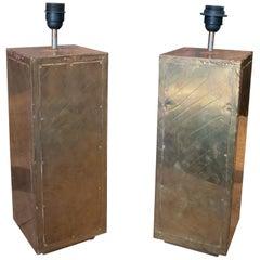 Rodolfo Dubarry 1980 Pair of Bronze Panelled Designer Table Lamps