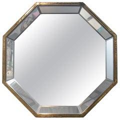 Rodolfo Dubarry, Spain 1980s, Two-Tone Bronze Panelled Octagonal Mirror