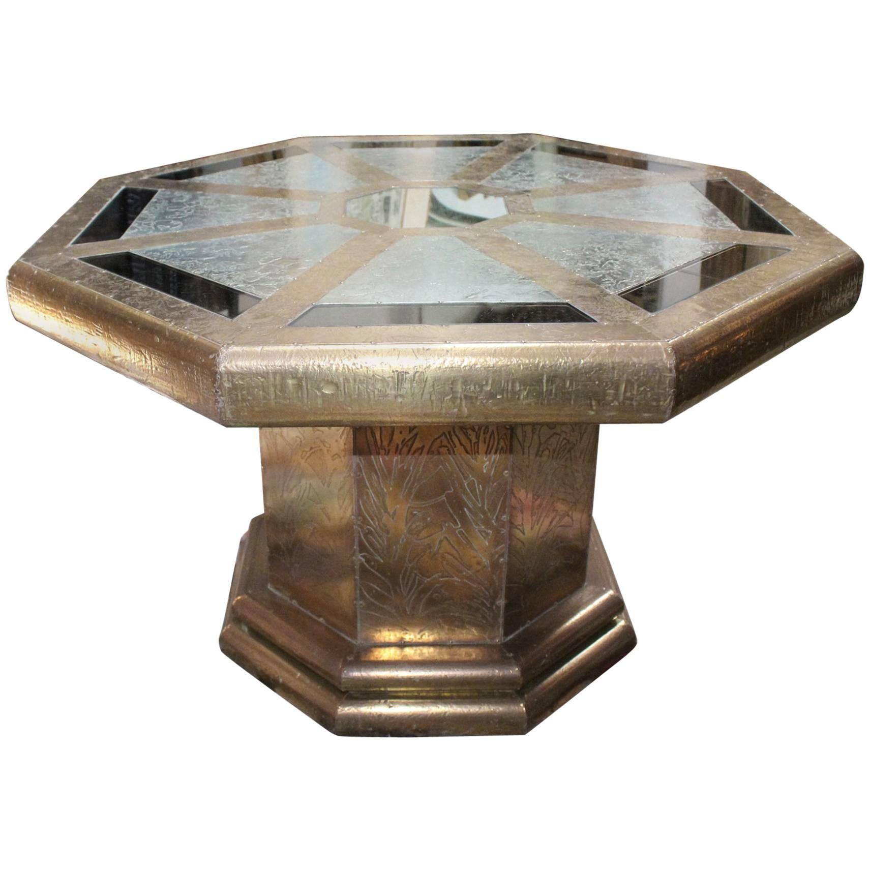 Rodolfo Dubarry's 1970s Spanish Gilded Brass Octagonal Coffee Table with Mirrors