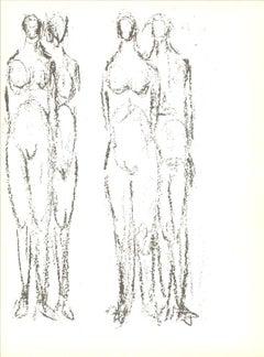 1966 Rodolphe Raoul Ubac 'Deux couples' Cubism Black & White France Lithograph