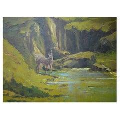 Roe Deer, Albert Berr, Oil on Canvas Painting, 1934