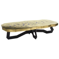 Roeco Coffee Table in Brass & Black Steel with Inlaid Lapis Lazuli by Atelier EB