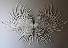 """Angel Wings 2"", Hand Cut and Laser Cut Paper Wall Sculpture, Butterfly"