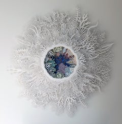"""Ghost Coral Color Variation"", Organic Hand Cut, Laser Cut, Paper Wall Sculpture"