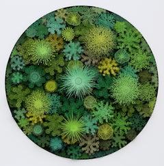 """Magic Circle in Green"", Organic Hand Cut, Laser Cut, Paper Wall Sculpture"