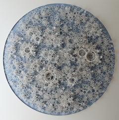 """""""Quantum Foam"""", Organic Hand Cut, Laser Cut, Paper Wall Sculpture, White, Blue"""
