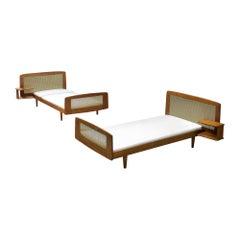 Roger Arnault Post-War Single Bed in Mahogany