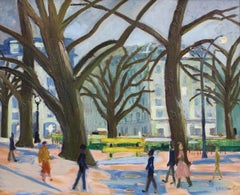 'Roundabout on the Champs-Élysées' by Roger Bertin, Oil on Canvas, Paris 1957