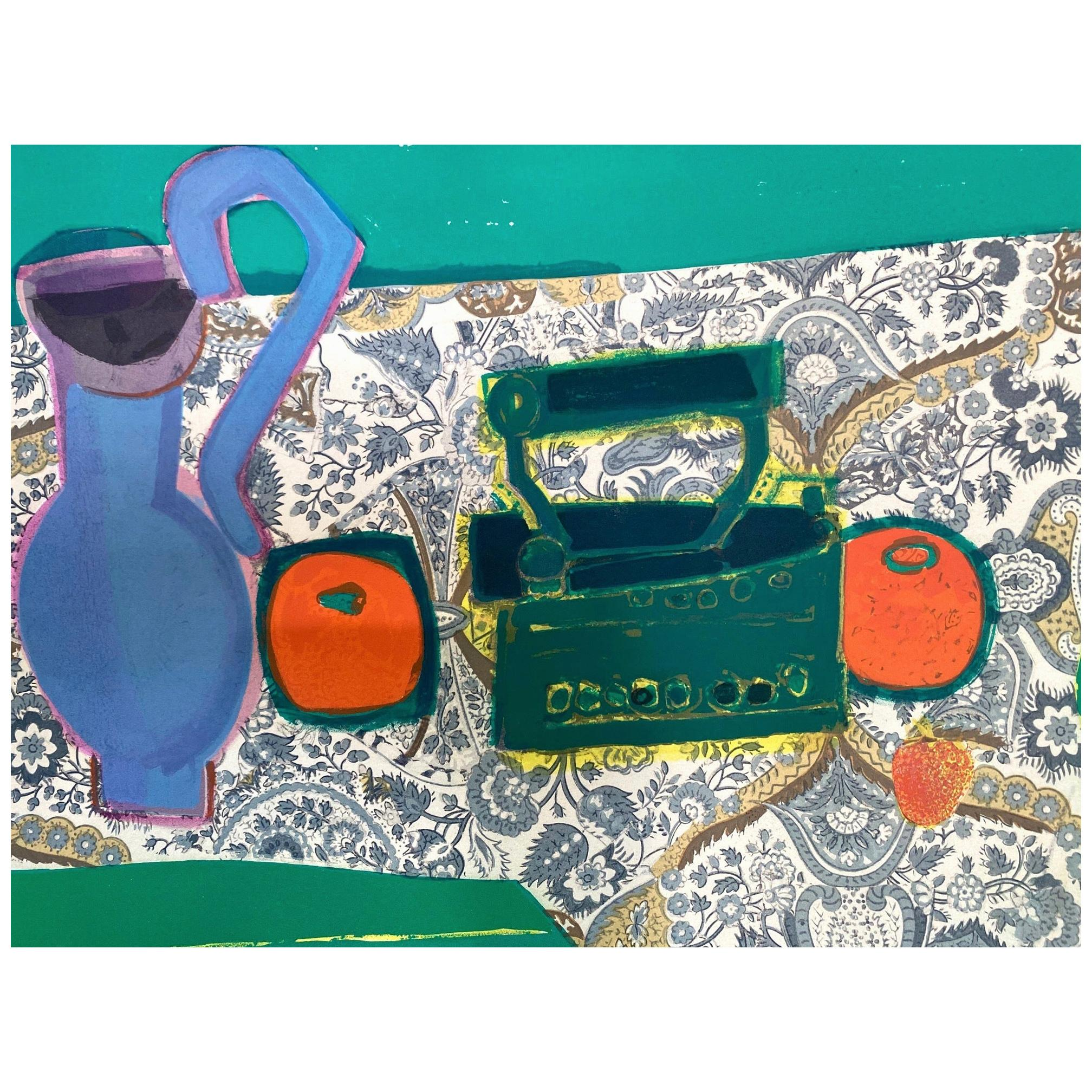 Roger Bezombes Colorful Still Life Lithograph