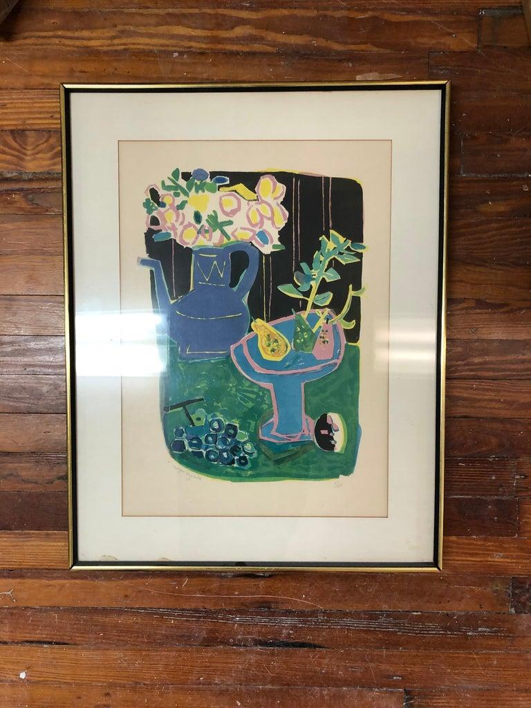 Roger Bezombes  La Cafetiere Bleue Lithograph For Sale 3
