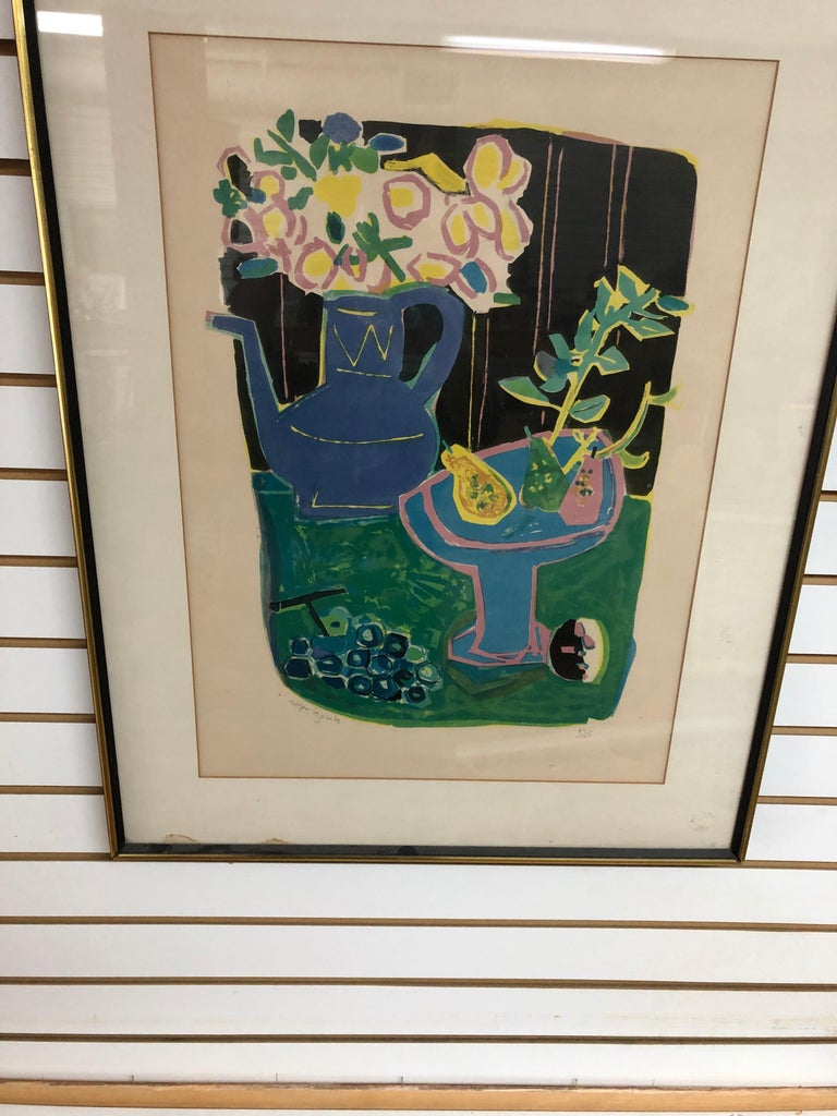 Roger Bezombes  La Cafetiere Bleue Lithograph - Brown Still-Life Print by Roger Bezombes