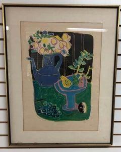 Roger Bezombes  La Cafetiere Bleue Lithograph
