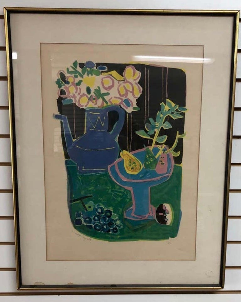 Roger Bezombes  La Cafetiere Bleue Lithograph - Print by Roger Bezombes