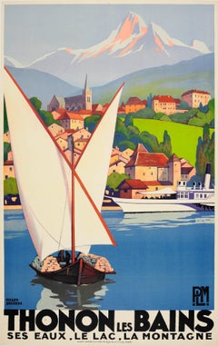 Original Vintage Art Deco Travel Poster By Broders For Thonon Les Bains PLM Rail