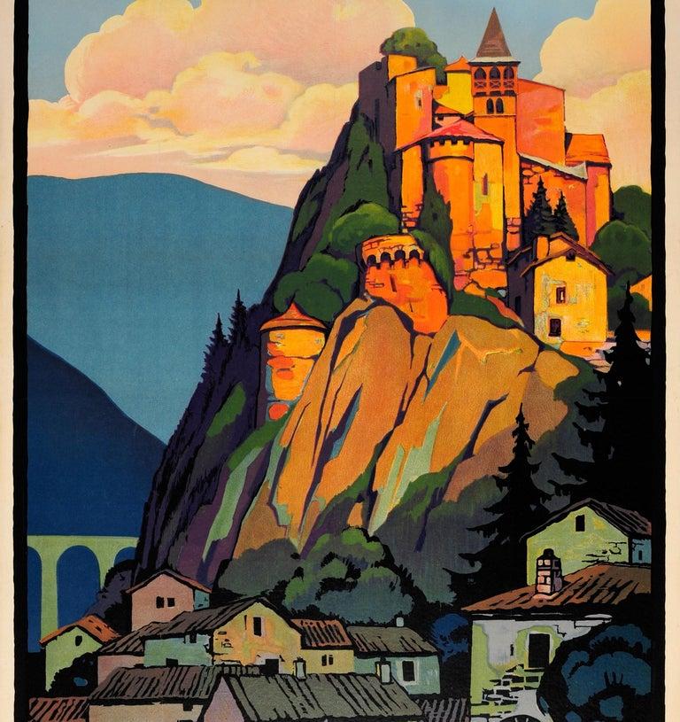 Original Vintage PLM Railway Travel Poster By Broders - Cornillon Saint Etienne - Black Print by Roger Broders