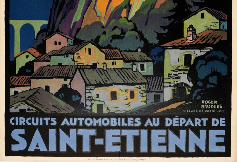 Original vintage travel poster for car tours departing from Saint Etienne in France - Circuits automobiles au depart de Saint Etienne - published by the PLM Paris Lyon Mediterranee Railway company. Stunning artwork by the notable French artist Roger