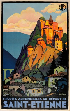 Original Vintage PLM Railway Travel Poster By Broders - Cornillon Saint Etienne