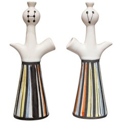 Roger Capron 20th Century Conical White Ceramic French Vases, 1960