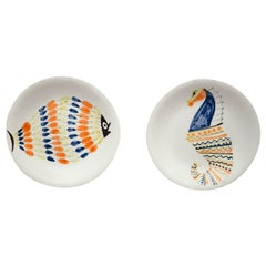 Roger Capron 20th Century Rond White Ceramic Painted French Pair of Plates, 1960