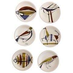 Roger Capron 7 Ceramic Plates with Stylized Animals, from Vallauris, 1950s