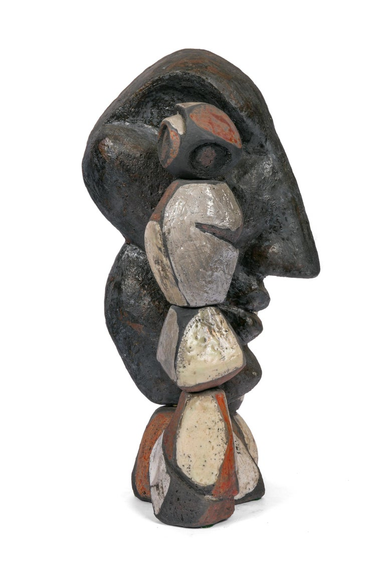 French Abstract Ceramic Figural Sculpture, France 1990s For Sale