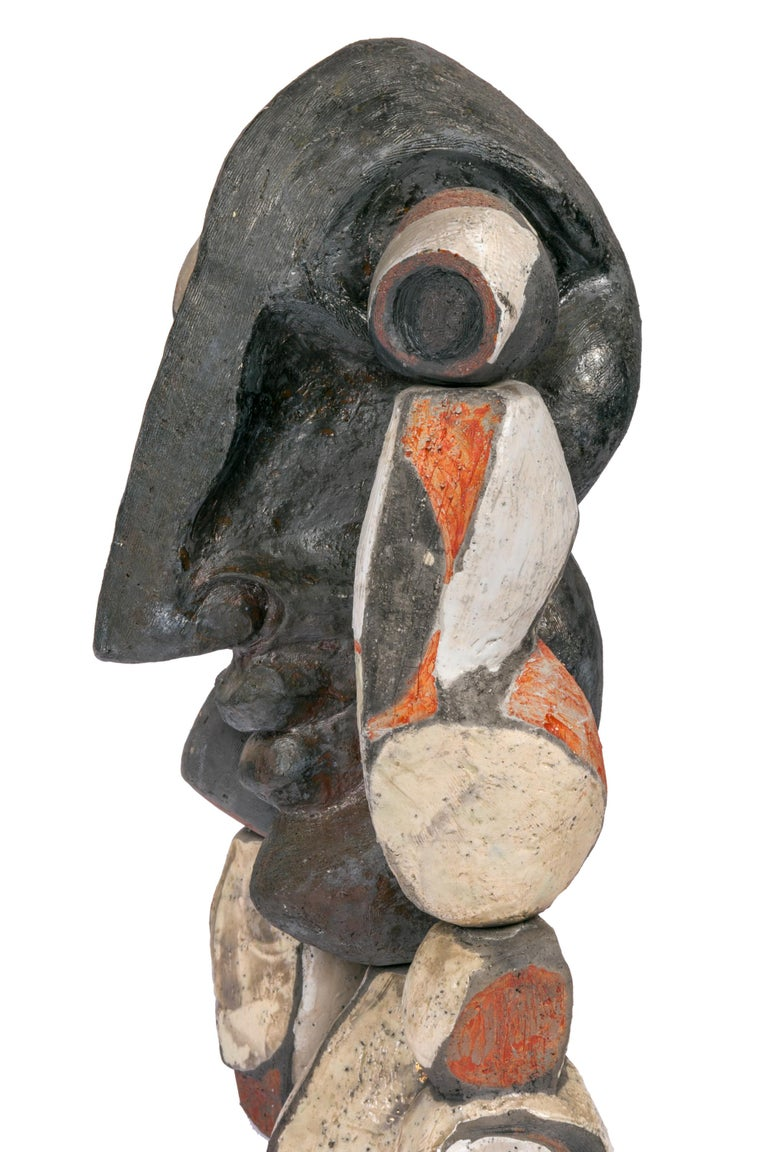 Late 20th Century Abstract Ceramic Figural Sculpture, France 1990s For Sale