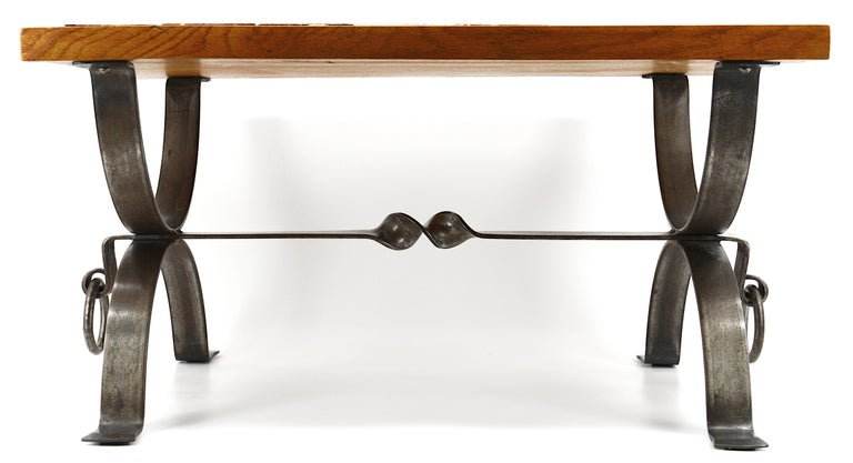 French Roger Capron and Jean Derval Small Coffee Table, 1960s For Sale