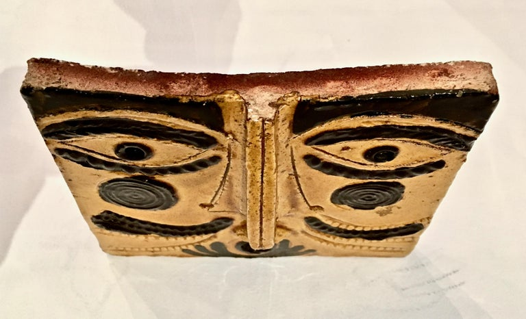 Mid-Century Modern Roger Capron Ceramic Abstract Face Sculpture, France, 1990s For Sale