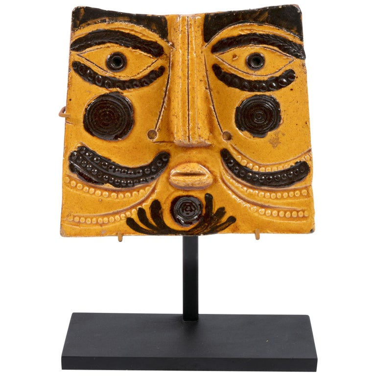 Roger Capron Ceramic Abstract Face Sculpture, France, 1990s For Sale