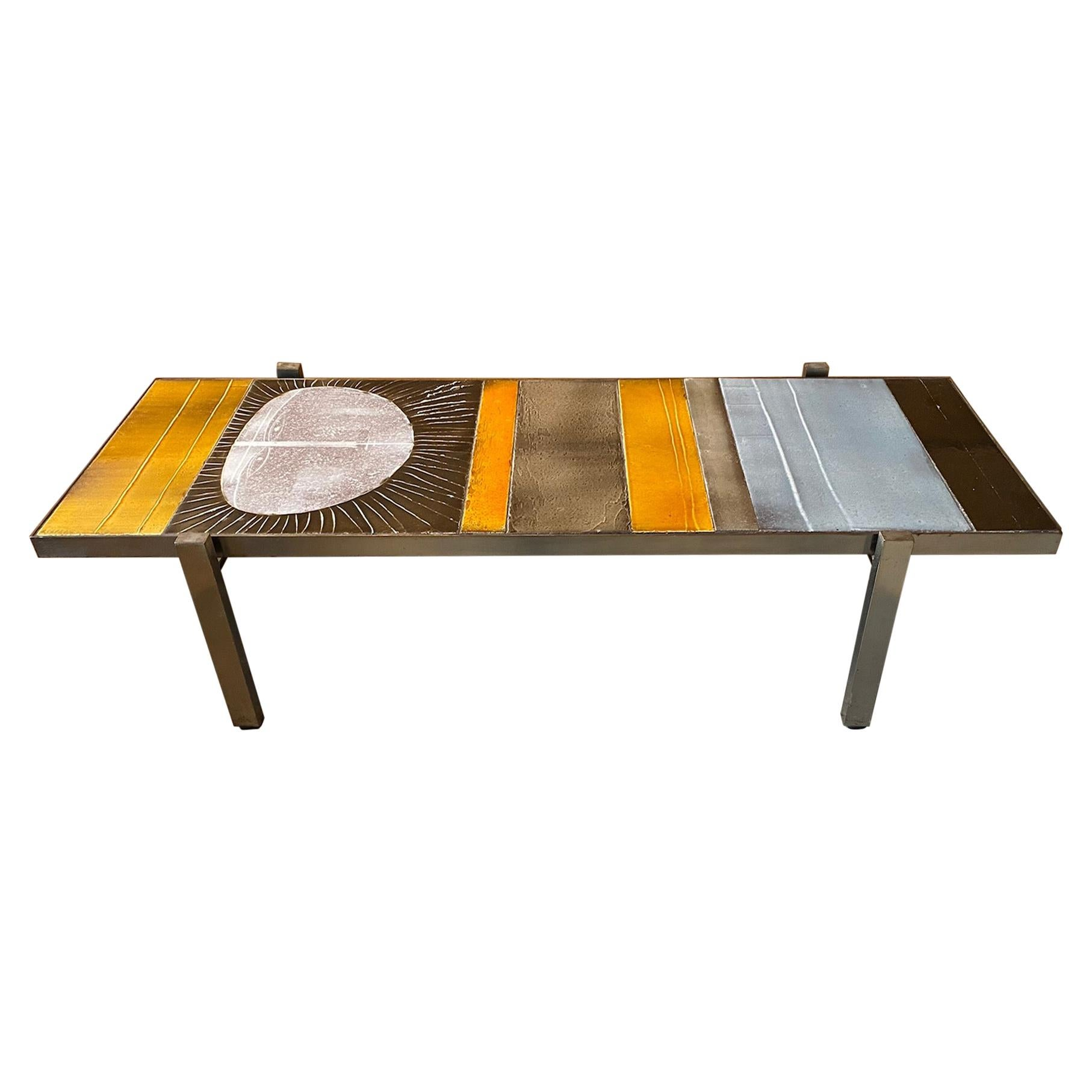 """Roger Capron Ceramic Coffee Table """"Soleil"""", France, 50s"""