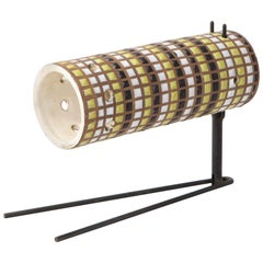 Roger Capron Ceramic Sconce/ Table Lamp on Metal Base, Vallauris, France, 1960