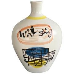 "Roger Capron Ceramic ""WHISKY"" Bottle from Vallauris, 1950s"