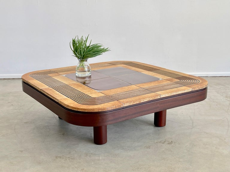 Rare Roger Capron coffee table  Square shape with ceramic tile and racetrack carved edges.
