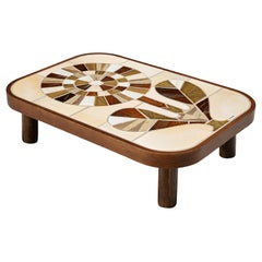 Roger Capron Coffee Table in Ceramic with Floral Motif