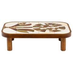Roger Capron, Coffee Table in Wood and Ceramics, 1960's