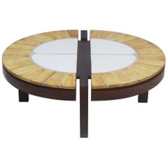 Roger Capron Coffee Table Oval, Ceramic and Oak, 1960