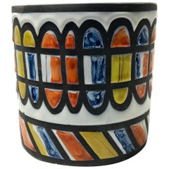 Roger Capron for Vallauris, Signed 1950 Ceramic Geometric Cachepot