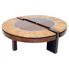 Roger Capron French Ceramic and Wood Coffee Table