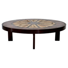 Roger Capron French Ceramic Round Coffee Table with Leaf Decorations