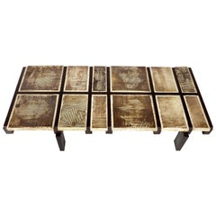 Roger Capron French Ceramic Tile Coffee Table Model Alouette Vallauris