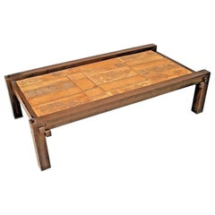 Roger Capron French Mid-Century Wood and Ceramic Coffee Table